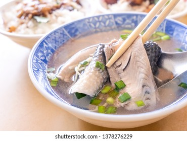 Milkfish skin soup, distinctive Taiwan delicacy food in Tainan. Famous meal set for lunch or breakfast with vegetable, top view, copy space, close up