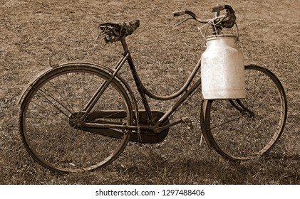 milking bicycle with aluminum milk canister to deliver milk just moistened