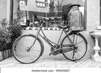 Milkman old bicycle in vintage design