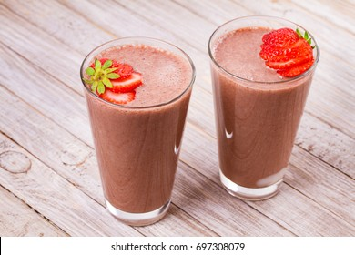 Milkshake with chocolate and strawberries. Chocolate strawberry smoothie