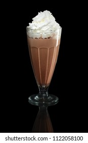 Milkshake chocolate summer cocktail isolated on black