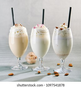 Milkshake on Gray Background