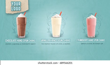 milkshake vanilla chocolate strawberry