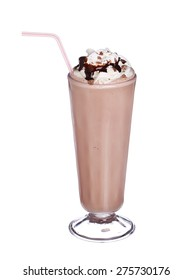 milkshakes chocolate flavor with syrup and whipped cream isolated on white background