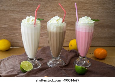 Milkshakes with whipped cream