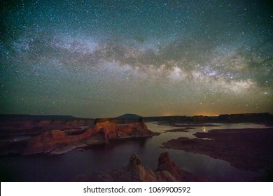 Milky Way above Lake Powell, Utah, USA.