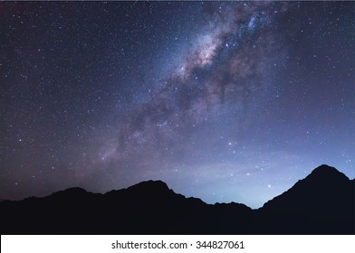 The milky way above mountain.
