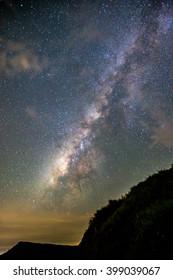 Milky Way above mountain.
