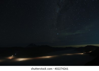 Milky way above mountain  ,Milky way over Bromo mountain.