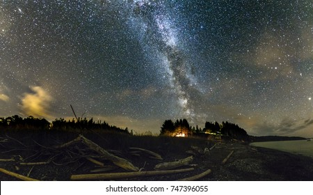 Milky way above Pasific coast near Port Crescent, WA. Fallen trees make the atmosphere of the picture.