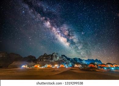 Milky way above red Wadi Rum desert in Jordan