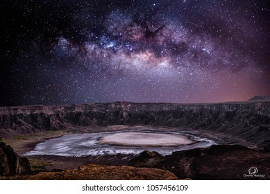 Milky Way above the volcano -Al Wahbah crater -Saudi Arabia