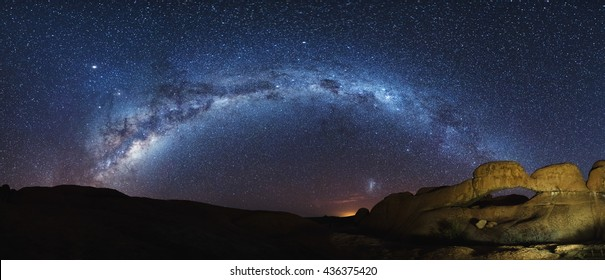 Milky Way arch and Magellanic Clouds over Spitzkoppe, Namibia