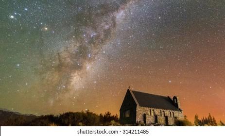 Milky Way, Aurora and Church