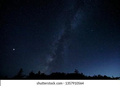 Milky Way background. odaigahara, Japan.