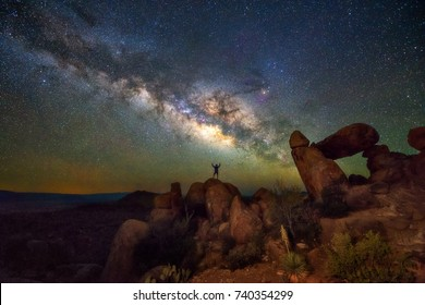 Milky way at Balanced Rock, Big Bend National park, Texas USA. Constellation and galaxy