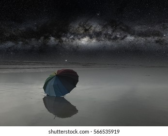 Milky way at beach during late night