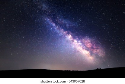 Milky Way. Beautiful summer night sky with stars. Background.