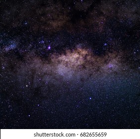 The Milky Way captured from the Southern Hemisphere, with details of its colorful core, outstandingly bright.