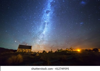 Milky way at the Church of the Good Shepherd, Lake Tekapo, New Zealand