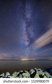Milky Way with clouds, White Rock, Surrey, BC, Canada.