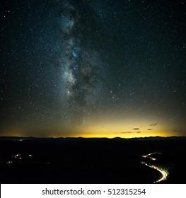 Milky Way core over the Mogollon Rim in Arizona