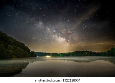 The Milky Way core visible over Lake Logan, Ohio.