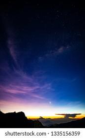 Milky way at dawn on mountain range