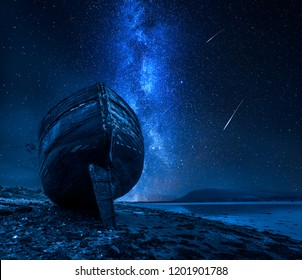 Milky way, falling stars and abandoned shipwreck, Fort William, Scotland