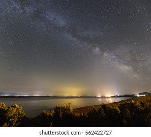 Milky way full of stars can be seen in this wide angle photo taken from Lošinj island, Croatia.