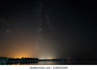 Milky Way from the Gabriel and Galan reservoir. Extremadura. Spain.