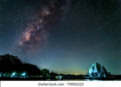 milky way galaxy in Ban Chiang, Udon Thani, Thailand.Night film grain tone