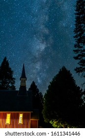 Milky Way Galaxy with church steeple taken from Yosemite Valley, California, Yosemite National Park, Summer