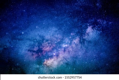 Milky way in the galaxy. Fill with stars 100,000-120,000 light years in diameter, it is home to planet Earth, the birthplace of humanity. Clearly milky way found in Thailand.
