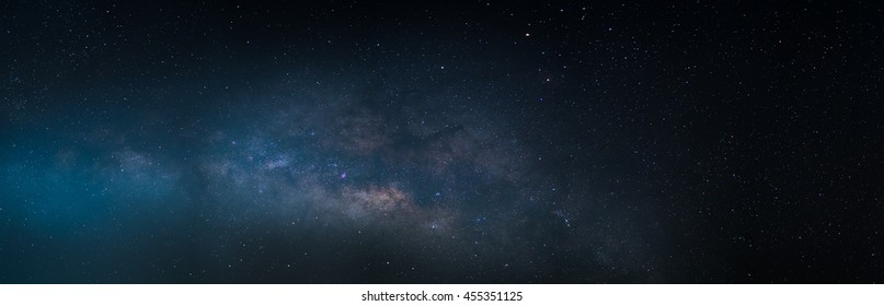 Milky Way galaxy, Long exposure photograph, with grain,noise,panorama