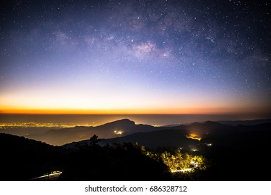 Milky Way Galaxy .Night landscape with colorful Milky Way, with stardust and space dust in the universe galaxy.