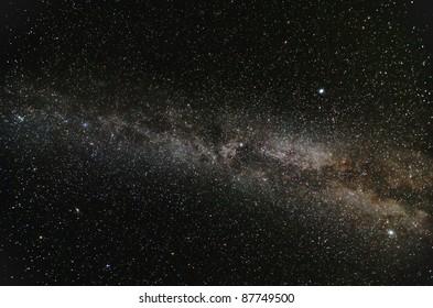 Milky Way Galaxy in open space