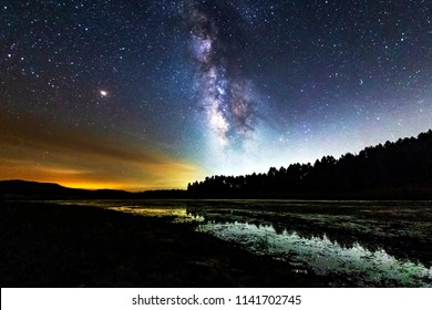 Milky Way galaxy over Big Laguna Lake in Mount Laguna, California
