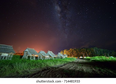 Milky Way galaxy over Kudat Sabah, Long exposure photograph, with grain.Image contain certain grain or noise and soft focus.