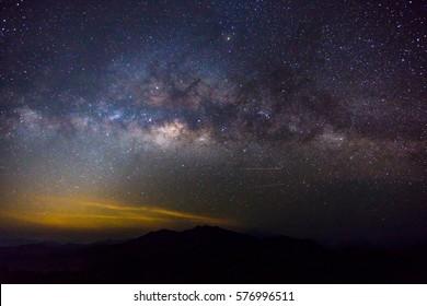 Milky Way Galaxy over pilok Kanchanaburi, Thailand at  Night