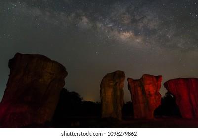 Milky Way Galaxy at Phu Lan Kha National Park,(Mo Hin Khao),Chaiyaphum,Stonehenge of Thailand
