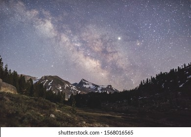 Milky Way Galaxy rising over the mountains on Tioga Pass in Yosemite National Park