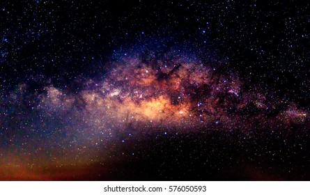 Milky way galaxy with star and space dust in the universe and deep night sky planet background.