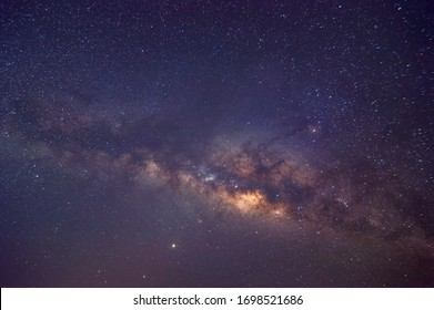 Milky way galaxy with stars and space dust in the universe, long speed exposure, Night landscape with colorful Milky Way, Starry sky  at summer, Beautiful Universe, Space background.