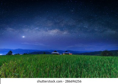 Milky way galaxy with stars and space dust in the Green Terraced Rice Field in Pa Pong Pieng , Mae Chaem, Chiang Mai, Thailand