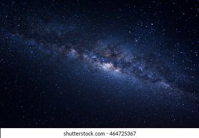 Milky way galaxy with stars and space dust in the universe. Image contain grains and visible noise, soft focus, and blur due to long expose and high ISO.