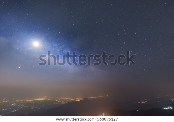 Milky way galaxy view on mountain Thailand.