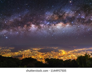 Milky way high up in the night sky, above Caracas city, capital of Venezuela.
