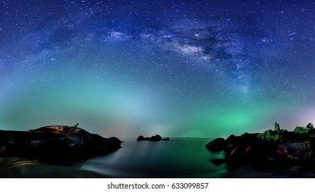 milky way, at hinta rock landmark of ko samui thailand.