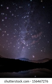 Milky way with huge twinkling stars
